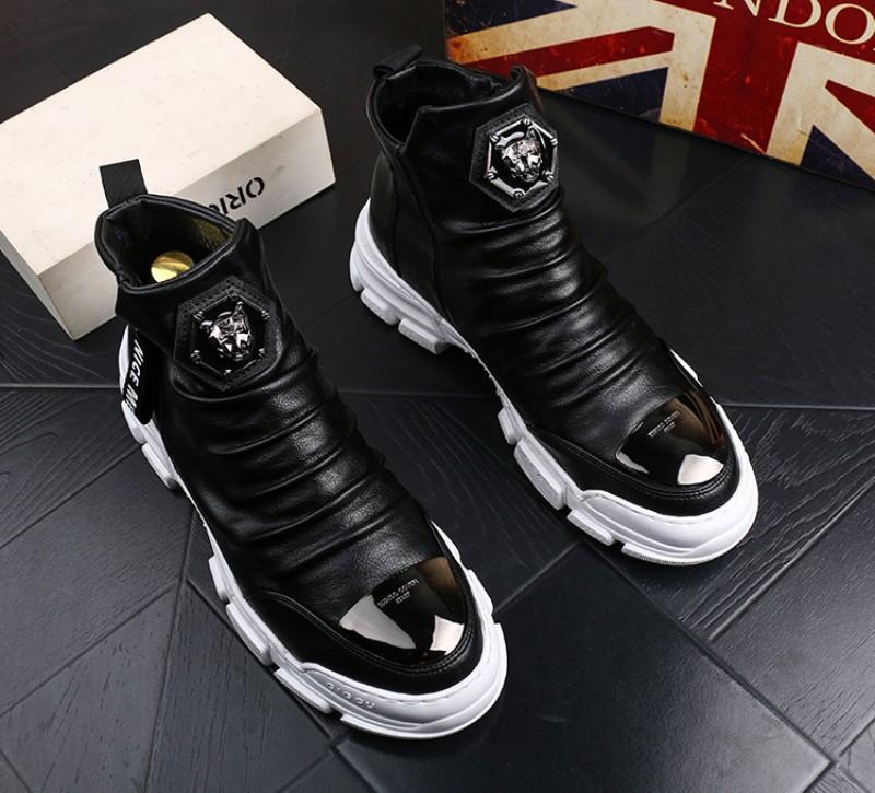 Designer Chaussures pour hommes automne hiver bottes Martin bottes de neige hommes botte coton de haute jeunesse bottine casual bootiesV45 en cuir chaud