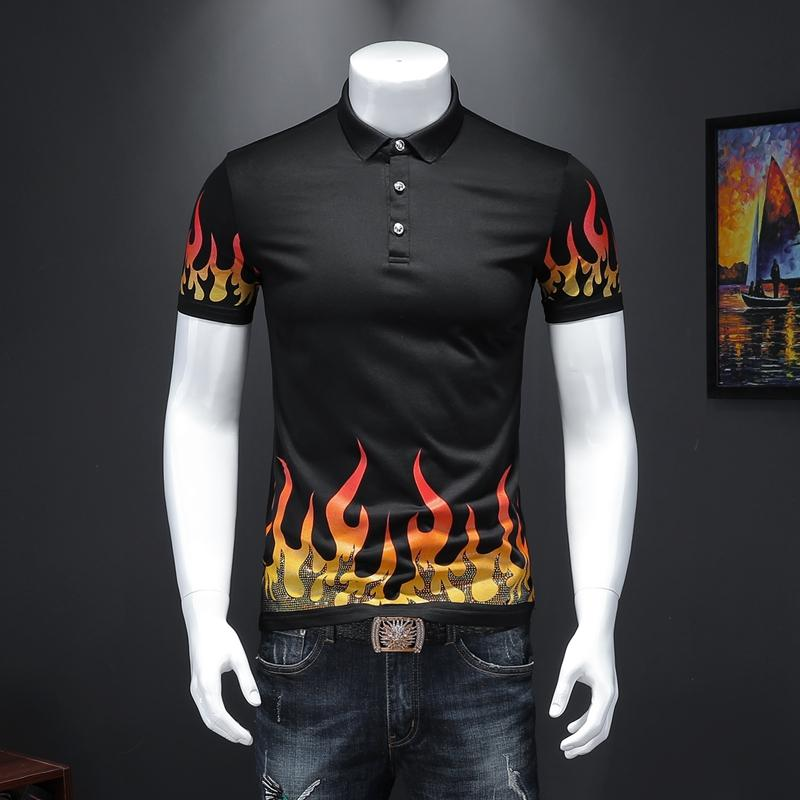 2020 Flame Print Shirt Men Casual Stretch Cotton T Shirt Fashions Hommes manches courtes Vêtements taille