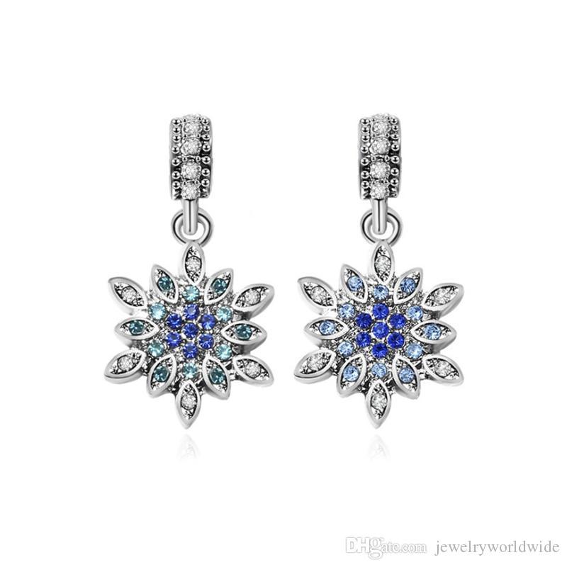 2 اللون ندفة الثلج قلادة تتدلى سبائك سحر الخرزة أزياء المرأة مجوهرات مذهلة النمط الأوروبي ل باندورا سوار