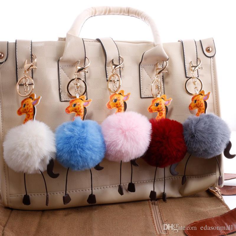 18 Styles 8cm Fur Ball Giraffe Keychains PU Leather Keyrings Fluffy Pom Pom Key Holder Women Bag Car Key Pendant Keyfob G251Q F
