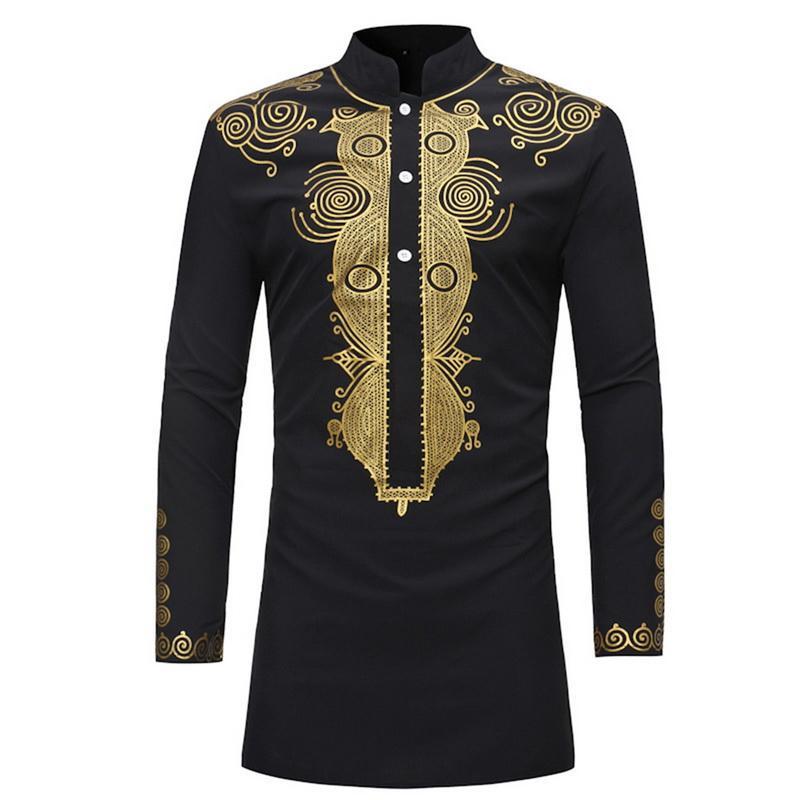 Laamei взрослых мужчин Африканский Черный Золотой Printed Длинные рукава Кнопка рубашка Stand Up Воротник Tribal Folk мундир Top для мужчин плюс размер
