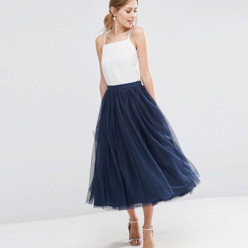 Nuovi 5 strati Maxi Tulle gonna a vita alta una linea scura blu Metà di-Vitello Tutu gonne delle donne di estate dell'annata faldas saia jupe