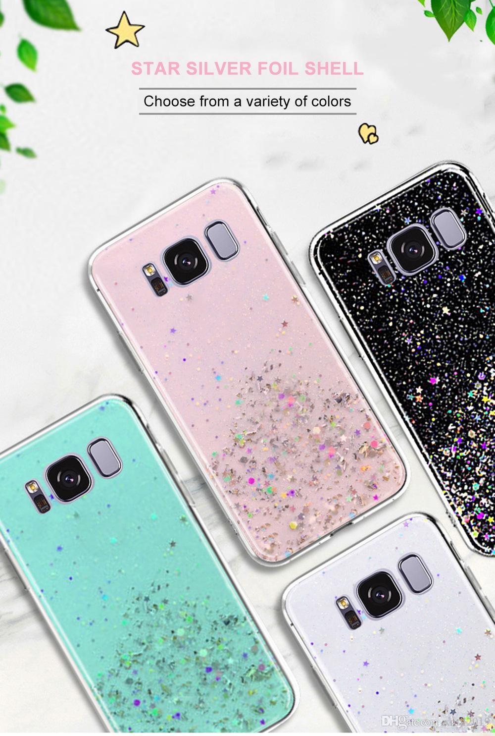 Para el caso de la cubierta protectora transparente note9 Samsung Galaxy S10 además de caja del teléfono móvil de papel de plata estrellada Ejiao brillo S9 S8 Note8
