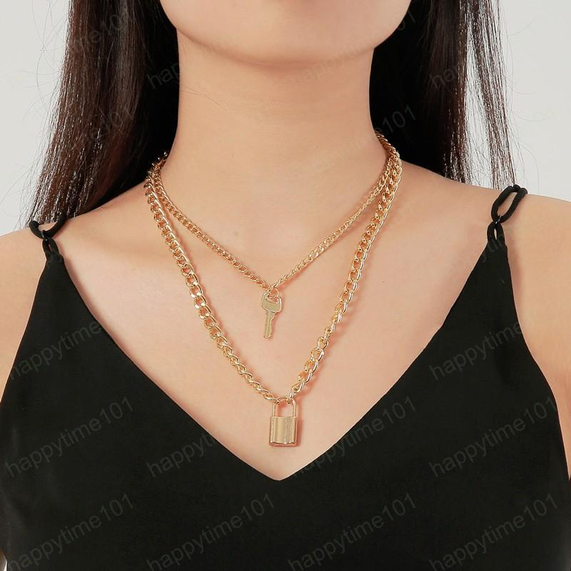 Lady Female Girl Women Girlfriend Couples Lover Metal Silver Gold Color Double Thick Chain Lock Key Pendant Charm Necklace