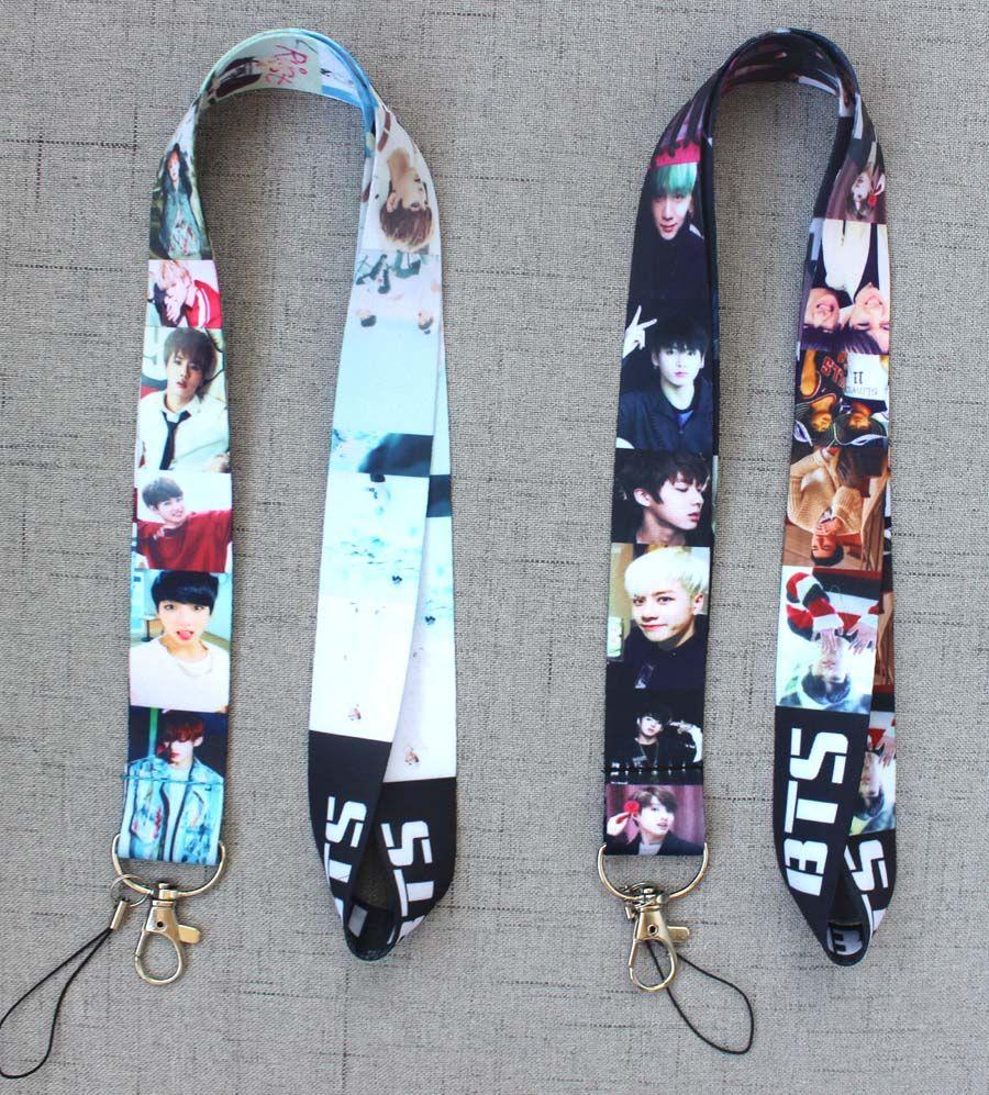 10pcs Pop stars BTS BOY Lanyard Mobile Phone ID Card KeyChain Holder girl gifts