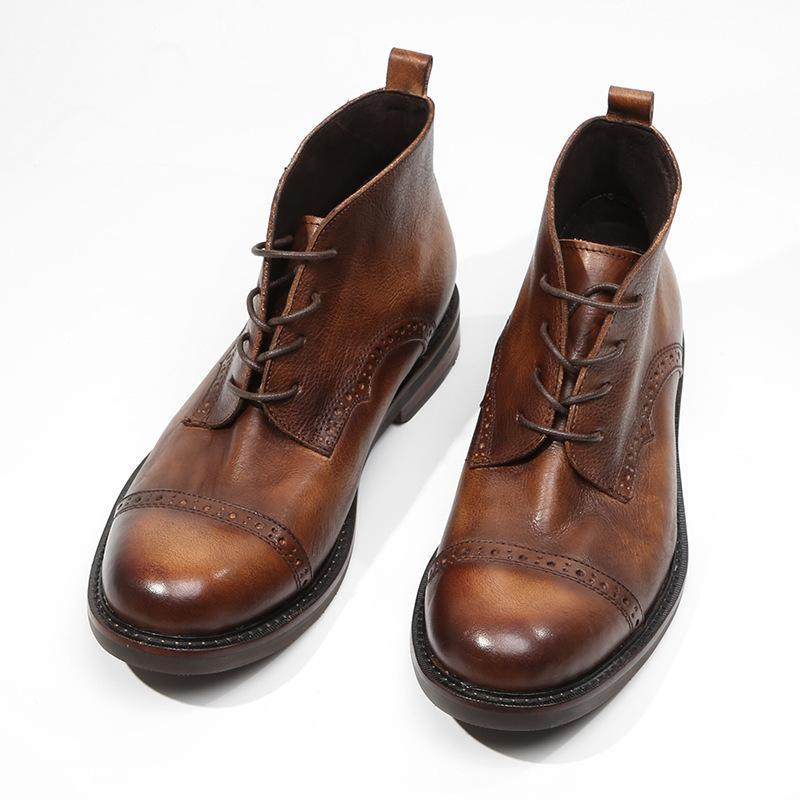 100% натуральной кожи в стиле ретро Безопасность Boots Мужчины голеностопного Обувь ручной работы BROGUE Wing Tip пинетки ретро круглый носок зашнуровать ботинки