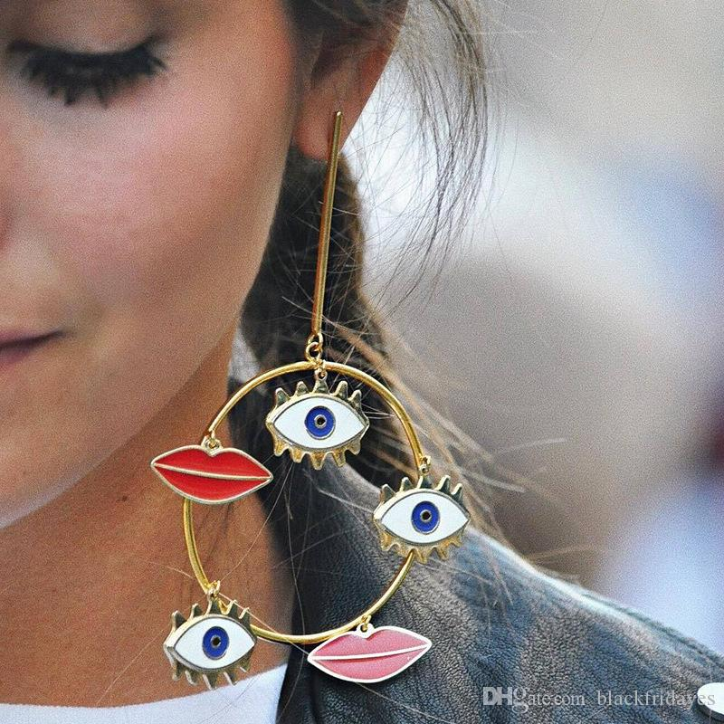 Nuovi orecchini della Boemia Ladies Street Shoots con labbra rosse Orecchini a cerchio grande Orecchini da sposa bohemien per gioielli da banchetto nuziale