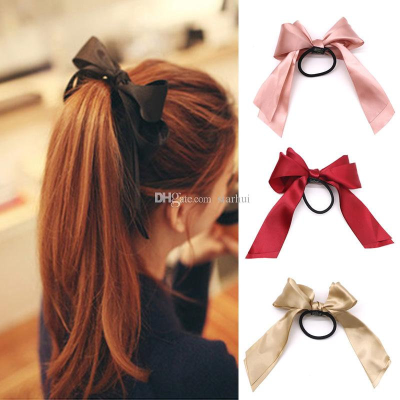 5 Color summer Ponytail Scarf Elastic Hair Rope Hair Bow Ties Scrunchies Hair Bands Flower Print Ribbon Hairbands Party Favor WX9-1807