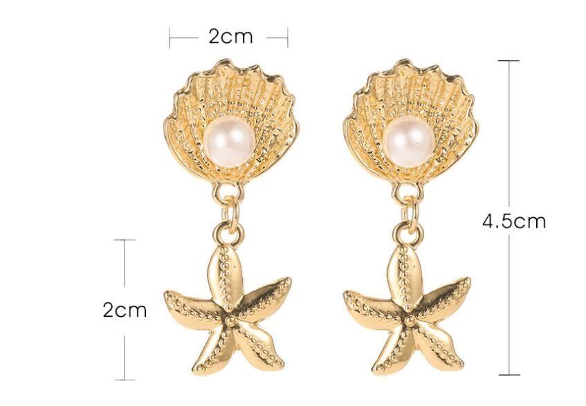 orecchini moda esagerata Conchiglia orecchino di perla