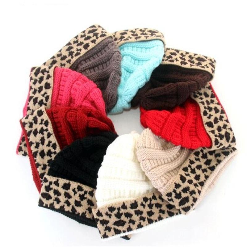 Tricot imprimé léopard Cap Beanies automne et en hiver Gardez Lovers chaud Chapeau de mode Saint-Valentin cadeau 8 5rs UU