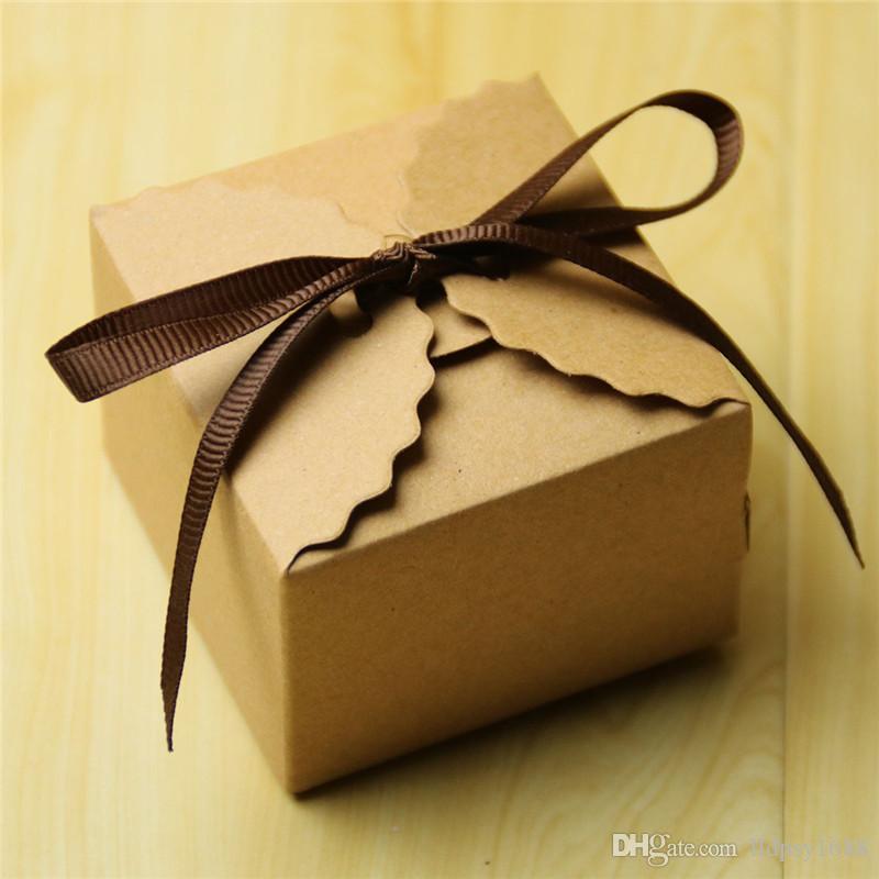 100 adet Retro Mini Kraft Kağıt Kutusu Vintage çikolata Kutuları Bebek Duş Düğün Hediyesi Iyilik Kutuları Hediyelik Eşya misafirler için Hediyeler Şeker Kutusu