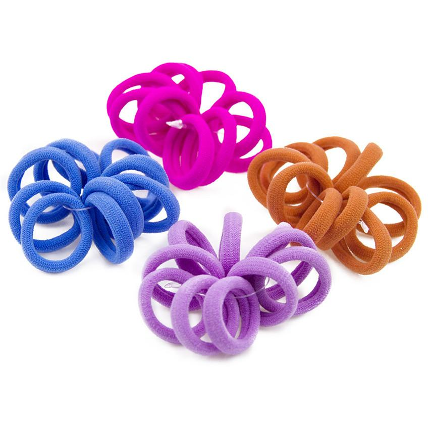 10Pcs Women Girls Elastic Hair Ties Knotted Band Ponytail Holder Rope Rings Band