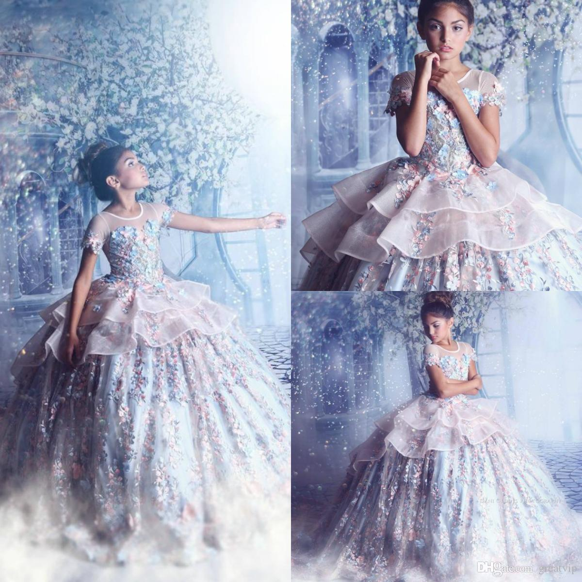 Princess Flowers Little Girls Pageant Dresses Extravagant Couture Ball Gown Beads Applique Teen Prom Gowns For Wedding Party Dress