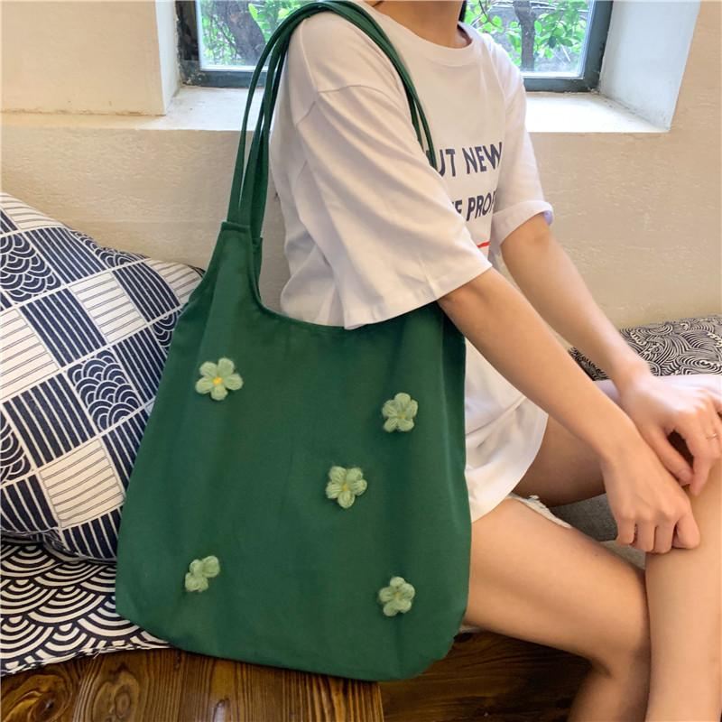 Gran capacidad simple flor de las mujeres Casual Gran totalizadores comprador compras Mujer sólido suave del paño del hombro del bolso lindo de bolsa para niñas