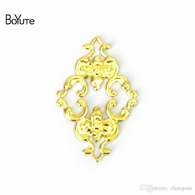 BoYuTe (100 Pieces/Lot) 23*36MM Brass Metal Flower Filigree Findinds Diy Hand Made Accessories for Jewelry