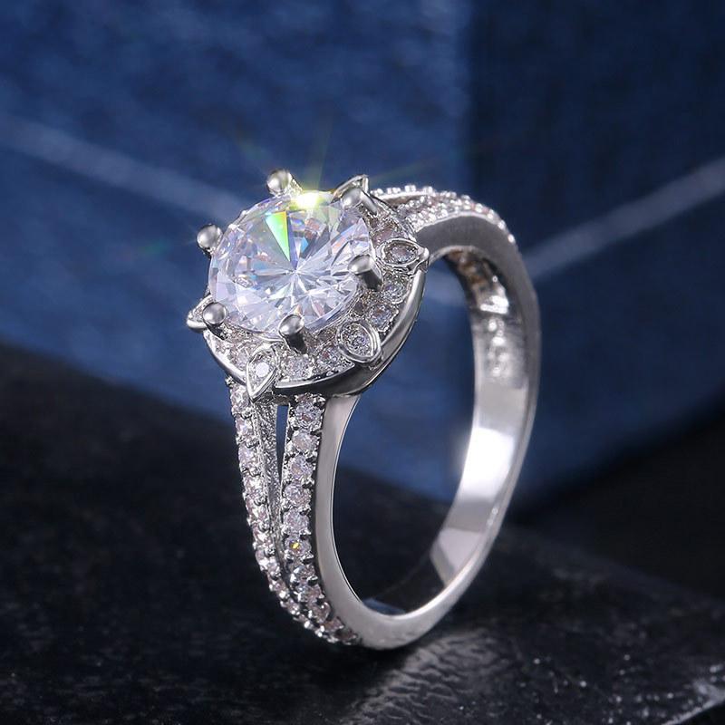Basit Lady elmas Zirkon yüzük 925 ayar Gümüş yüzük düğün nişan tasarımcı yüzük Lover Hediyeler Takı