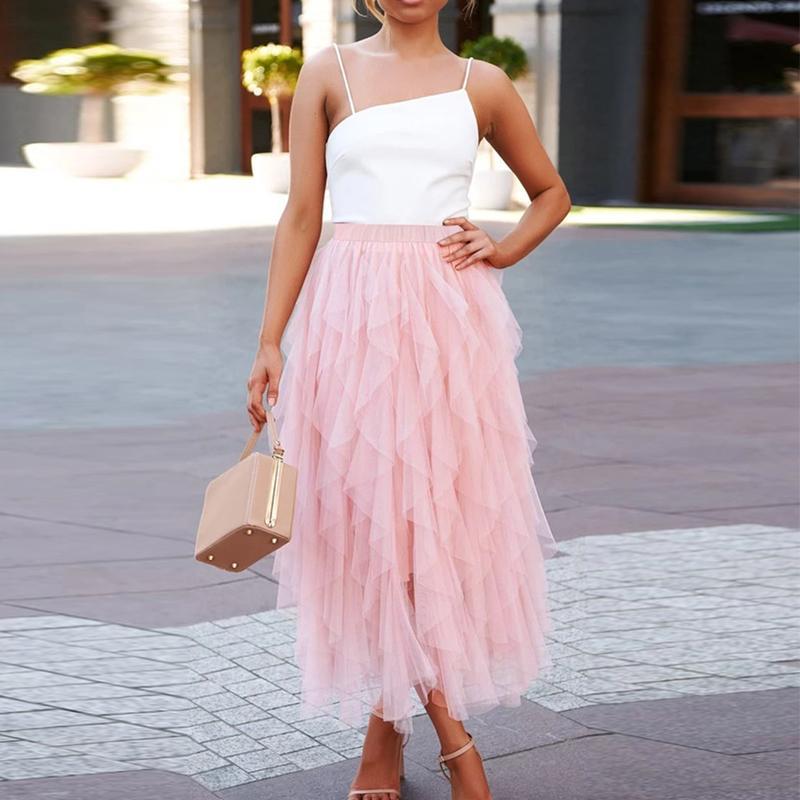 Dobladillo irregular de tul faldas de las mujeres de moda de verano de malla elástica de cintura alta falda de Midi Mujer plisado falda larga de partido ocasional Faldas