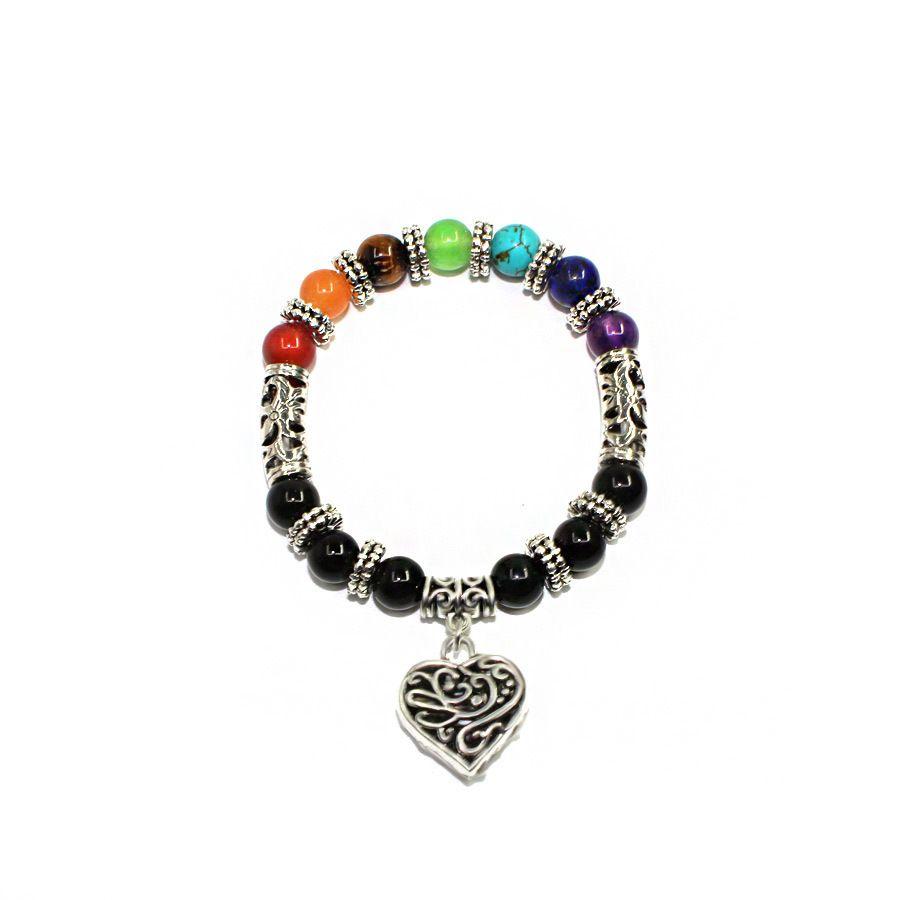8mm Farbe Natural Stone Armband Kopf Jungstein Yoga Buddhismus Sieben Chakra-Pfirsich-Herz-Armband-Frau