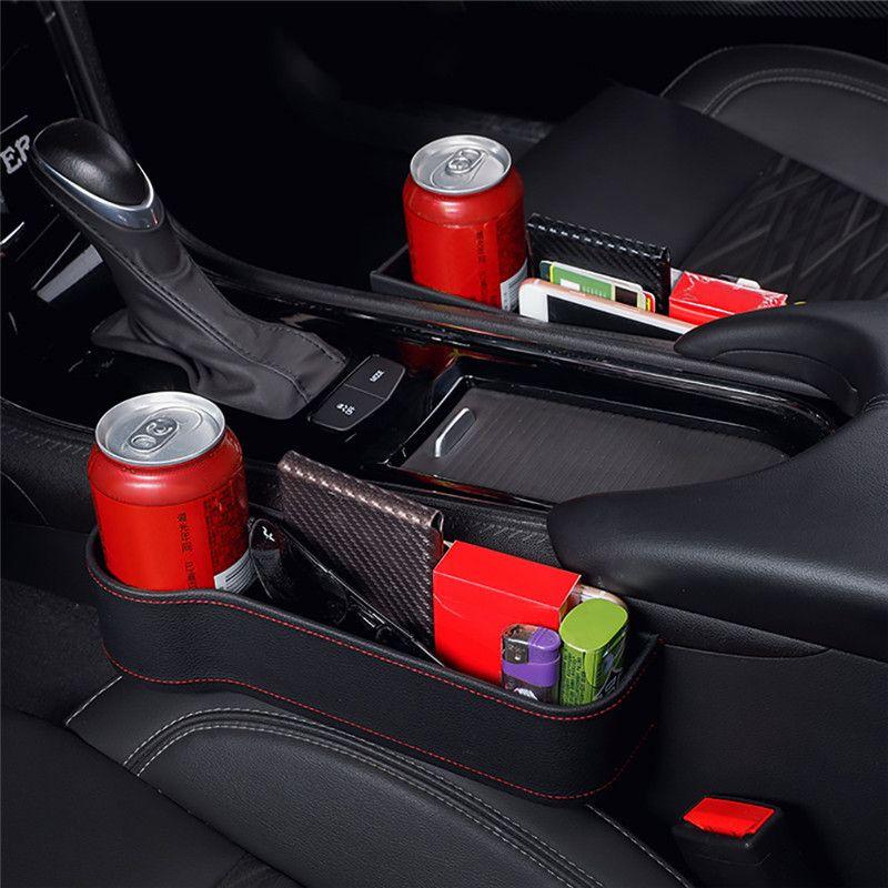 Caja de almacenamiento de coches Organizador del asiento Gap PU caja del coche de bolsillo del asiento hendidura lateral para la carpeta monedas del teléfono del cigarrillo Keys Tarjetas Para universal