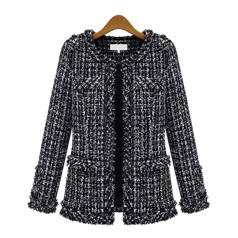 OUSHANG Elegant Long Sleeve Plaid Jackets Female Vintage Oversize Tassel Tweed Wool Blends Black Coat Women 2020 Plus Size