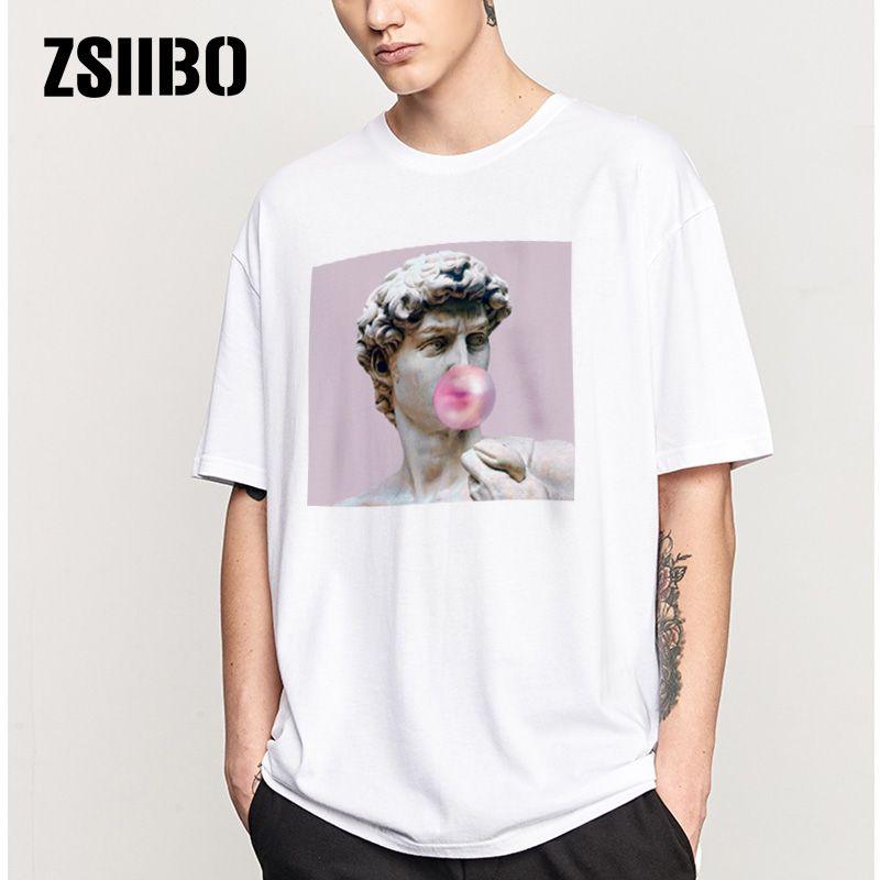 ZSIIBO 데이비드 미켈란젤로 여름 남성 티셔츠 동상 풍선 껌 사탕 맛 t- 셔츠 남자