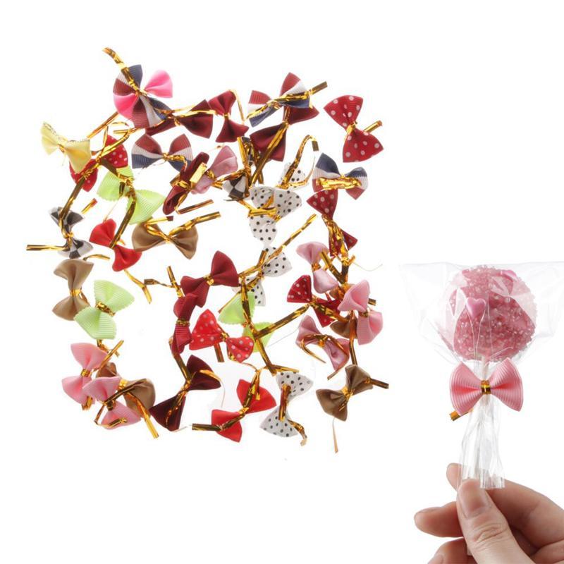 Bowknot Dot Packaging Bags Sealing Metallic Twist Ties Wire Cello Bags Lollipop Candy Gift Bag Fastener Sealing Fixed Ties 200PCS/set