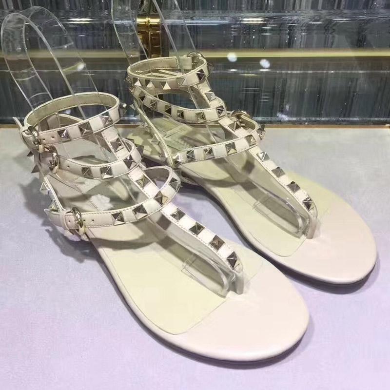 cuero genuino de tiras blanca sandalias planas de las mujeres clásicas de diseño diseñador de moda de playa moda de verano