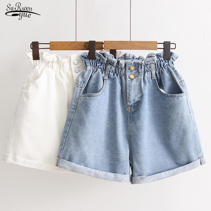 Verano coreanos elásticos de cintura alta pantalones cortos vaqueros de las mujeres 2020 pantalones de pierna ancha cortos mujeres más tamaño suelta pantalones cortos de mezclilla señoras de 9511 T200704