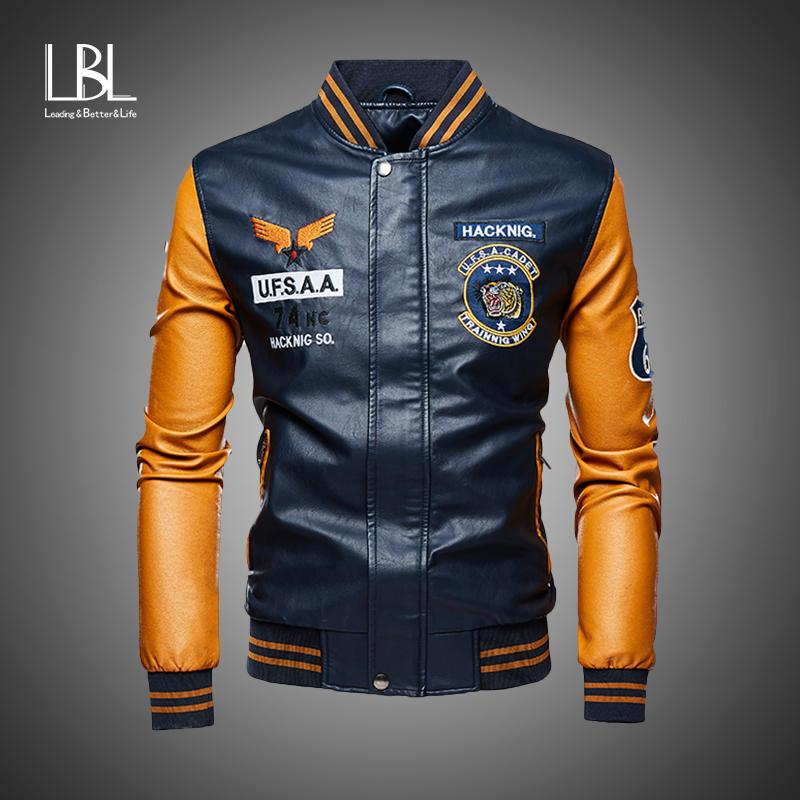 Кожаная куртка Мужчины бомбардировщика бейсбола куртки Байкер Pu пальто Поддельный Pilot Varsity руно колледж Top Leather Black Slim Fit мотоциклов