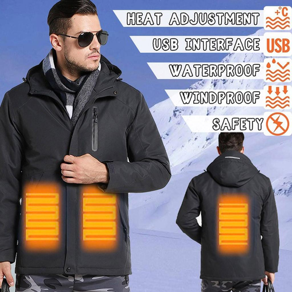 Winter Men's Three-speed Temperature Control USB Charging Heating Warm Jacket Clothing US Size Up to 3XL Hip Hop Slim Fit Pilot