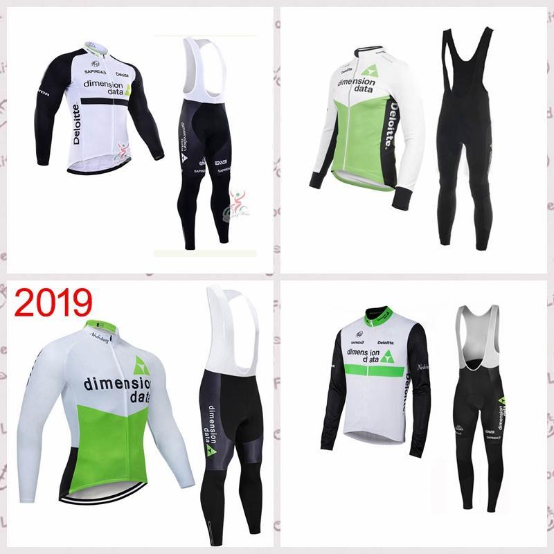 squadra DIMENSION DATA ciclismo maniche lunghe maglia i pantaloni set 2020 pantaloni bretelle all'aperto vestito di sport Jersey C620-9