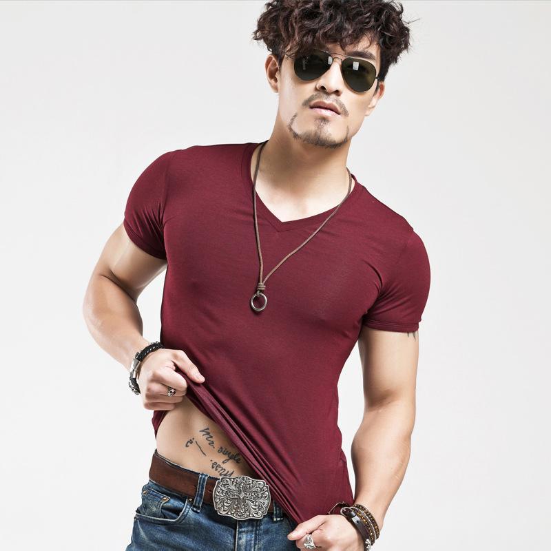 Januarysnow Marke Neue Männer T SHIRT Tops V Ausschnitt Kurzarm T-Shirts Herrenmode Fitness Heißer T-shirt Für Männer freies Verschiffen Größe 5XL