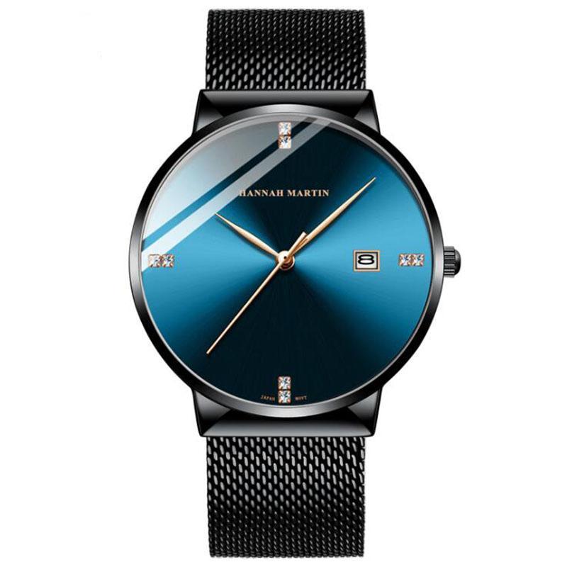 Quartz imperméable à l'eau des hommes de la mode montre mouvement japonais calendrier loisirs ceinture en maille d'acier inoxydable avec horloge de montre de diamant