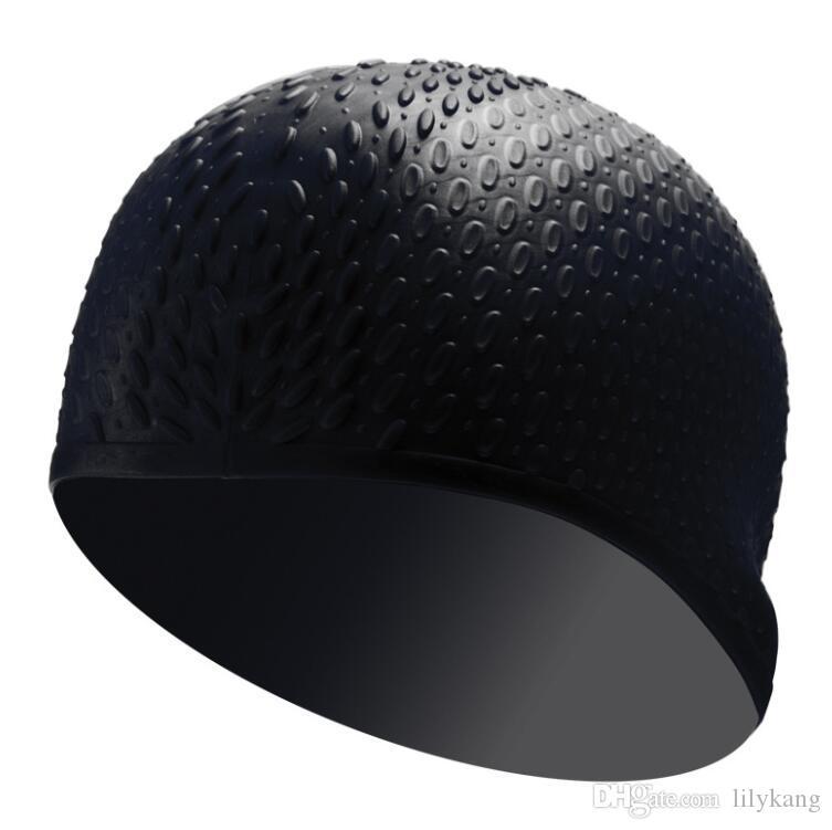 Moda silicone swim earmuffs chapéu de látex à prova d 'água de segurança do cabelo longo queda de água nadar tampas de banho cabelo seco chapéus de esportes de água
