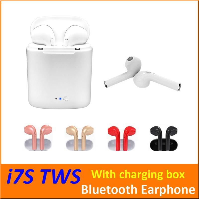 I7S TWS Беспроводные Bluetooth-наушники Наушники-вкладыши Наушники с зарядной коробкой Близнецы Мини-Bluetooth Наушники для iPhone X IOS Android + Розничная коробка