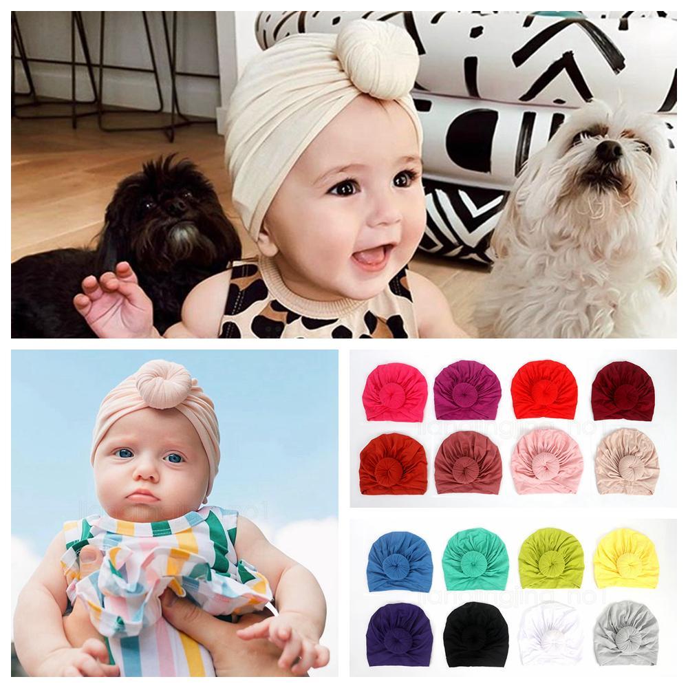 16styles Knot tampão do bebê chapéu turbante 0-3 anos cap cor pura sólida para miúdos das crianças infantis miúdos bonitos tampas Beanie FFA2997-2
