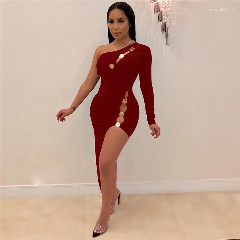 Manches lambrissé Sexy Ladies Dresses Mode Femme Vêtements une épaule Femmes Robes Solide Couleur