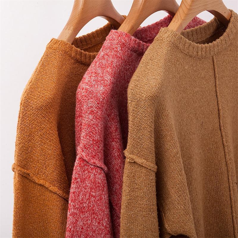 camisola das mulheres Inverno Pullover Plus Size Mulheres malha V-Neck Sólidos manga comprida camisola irregular Top Y1.10