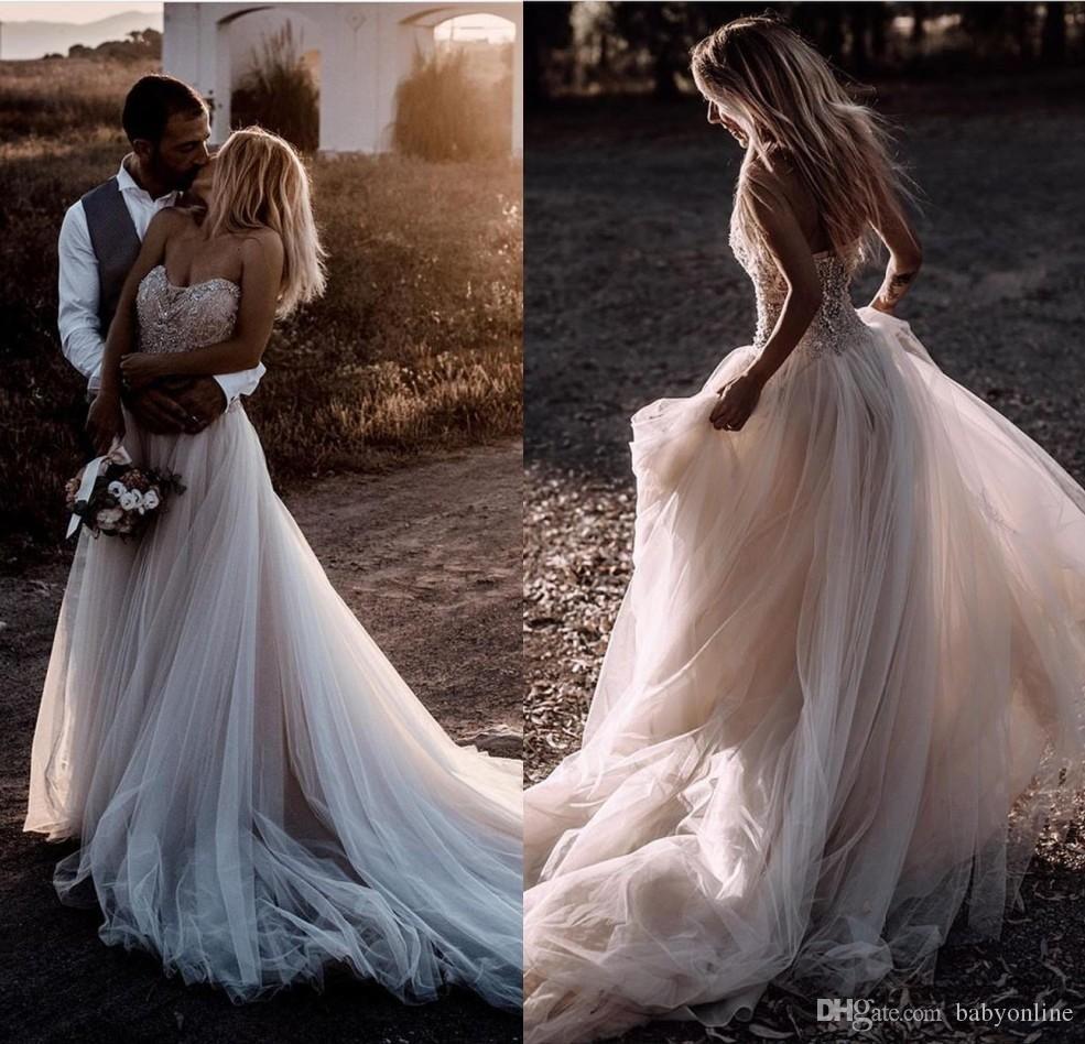 Плюс Размер Дешевые Страна Sexy Boho Принцесса Свадебные Платья Милая Спинки Пляж Богемной Свадебное Платье Свадебные Платья Vestidos De Novia