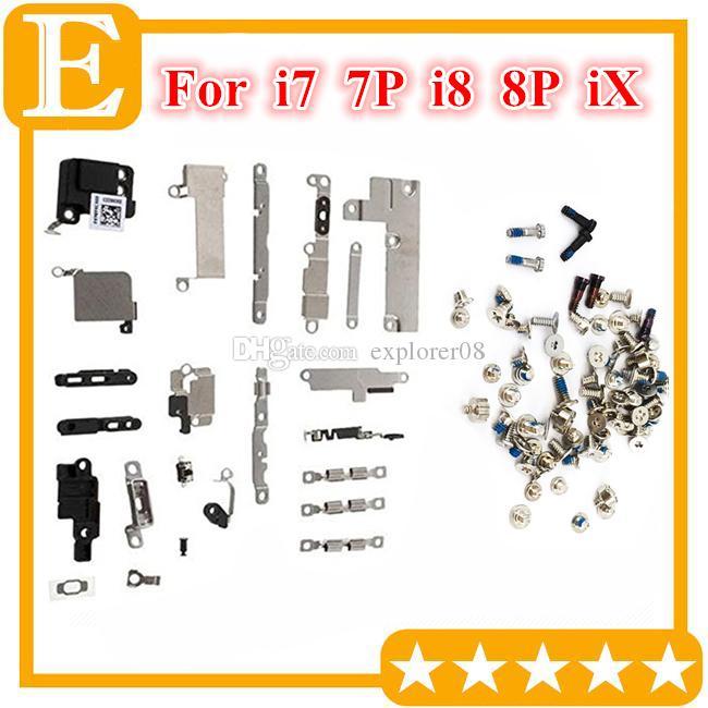 Vollständiger Satz Kleine Metall-Innenhalterungs-Kits Schraubensatz Ersatz für Iphone 7 8 8 Plus X PCB Metall-Eisenhalterung Schildplatte