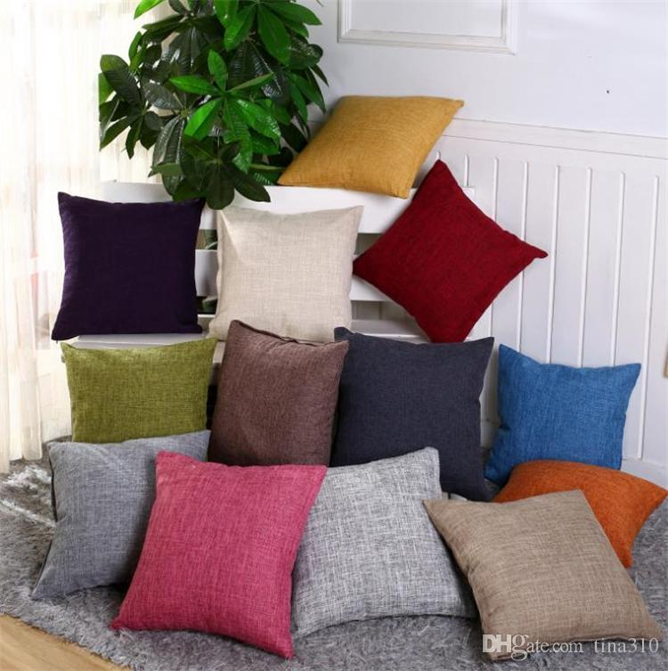 50pcs / lot Normal bunte Baumwolle / Leinen Kissenbezüge mischen leerer Kissenbezug Kissenbezug Süßigkeiten Farbe dick Kissenbezug 45 * 45cm I375