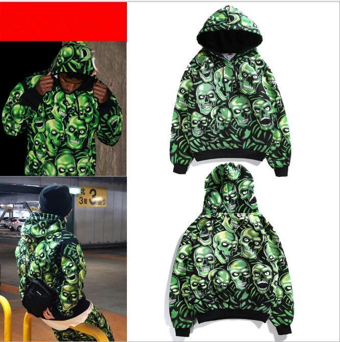 El diseño nuevo de los hombres '; S pila del cráneo sudaderas con capucha verde Hip luz nocturna sudaderas mujeres de los hombres de manga larga con capucha suéter con capucha Hip Str al por mayor
