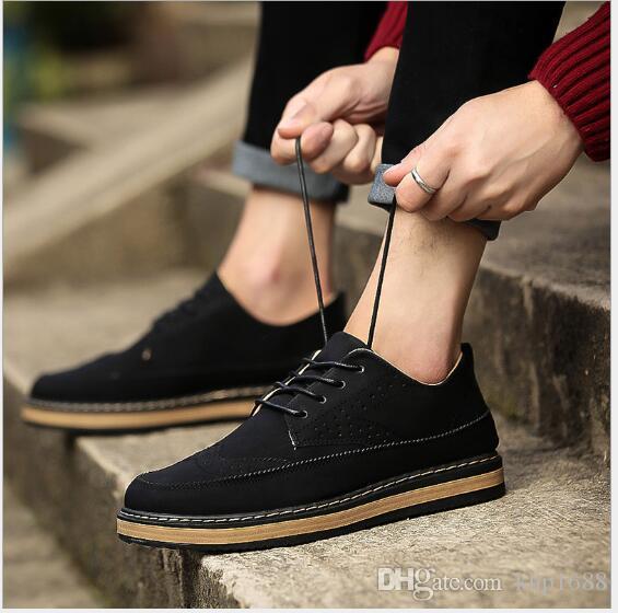 New Bean Herren Chaoblock Schuhe British Wind Frühling Herrenschuhe Mode, Freizeit, rutschfest und abriebfeste wof126