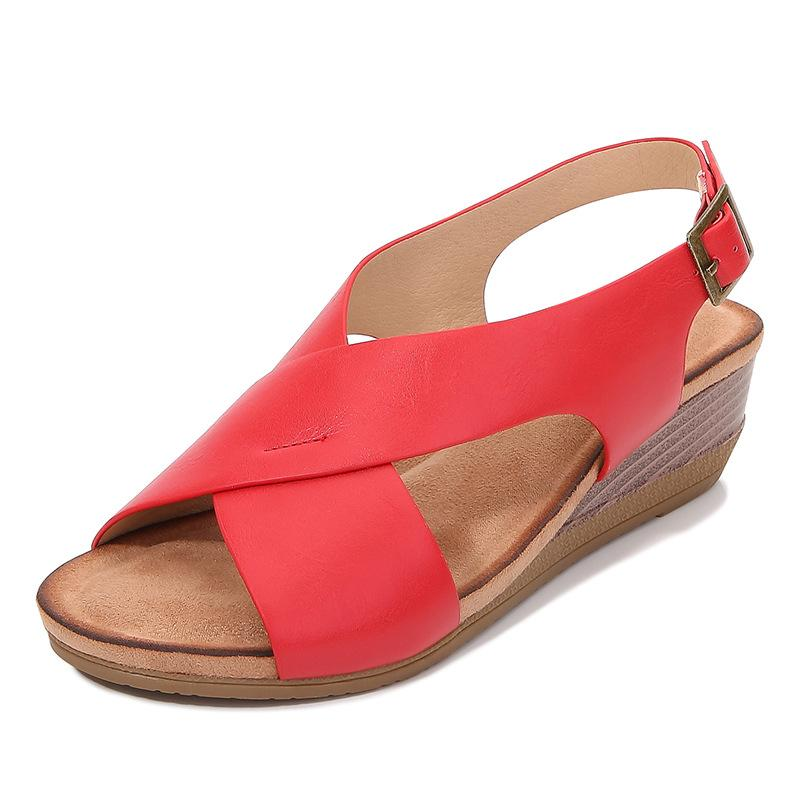 I nuovi sandali talloni di modo 4 cm cunei trasversale legato donne pelle morbida sandali estivi con fibbia alla caviglia grandi dimensioni 35-42