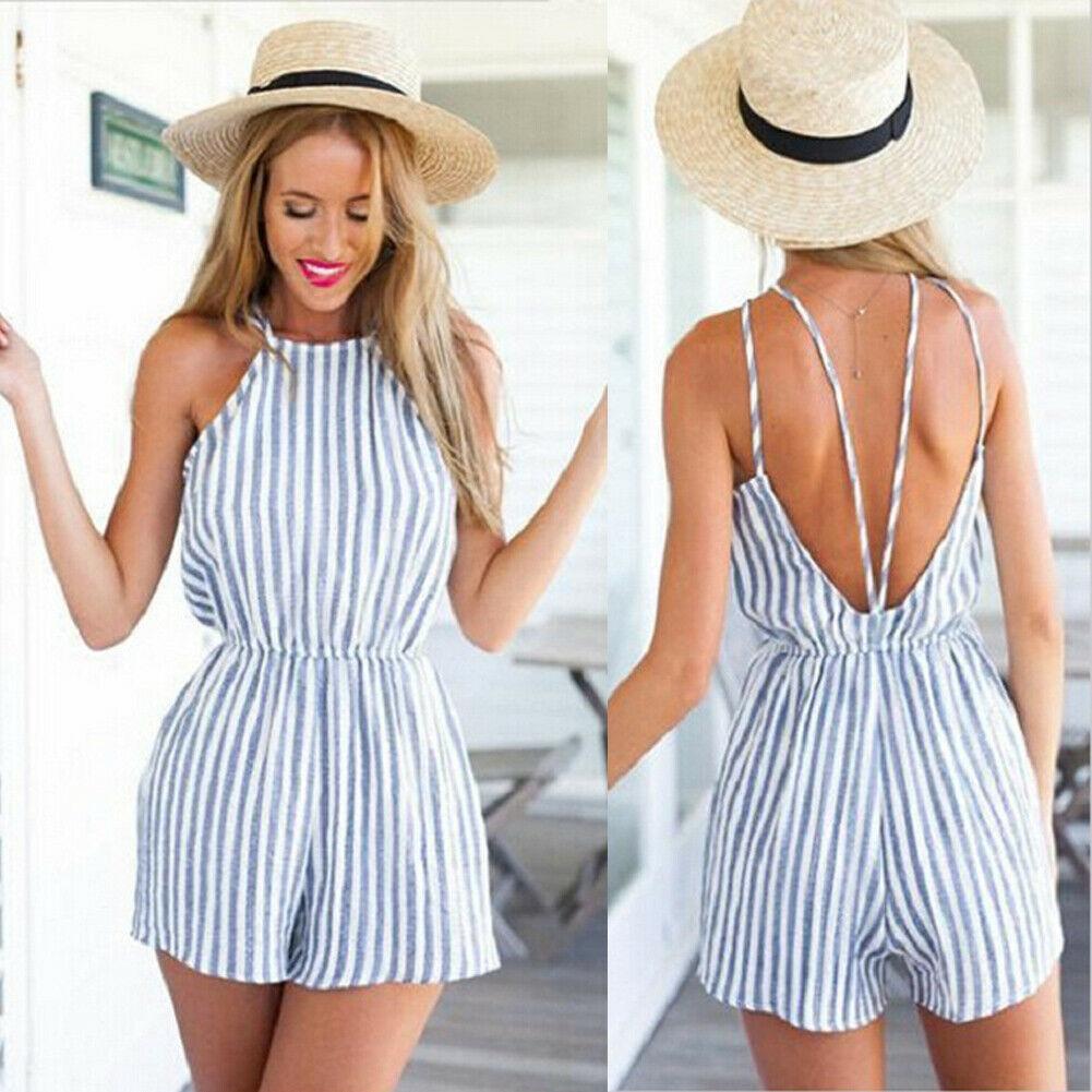 여성 휴가 미니 Playsuit 점프 슈트 Rompers 여름 해변 캐주얼 반바지 드레스