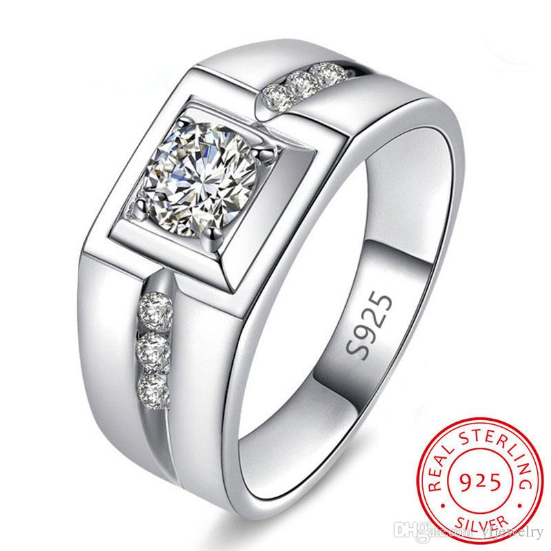 Real 925 Sterling Silver Wedding Rings Men Gift Jewelry 1 Ct Cubic Zirconia Engagement Rings Gift Wholesale R971