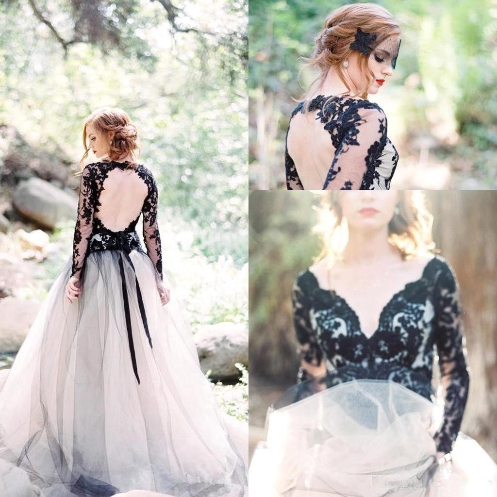 Sheer Back Garden Long Sleeve Wedding Dresses Black Lace Appliqeus A Line Tulle Bridal Gown Vestido de Novia BC2666