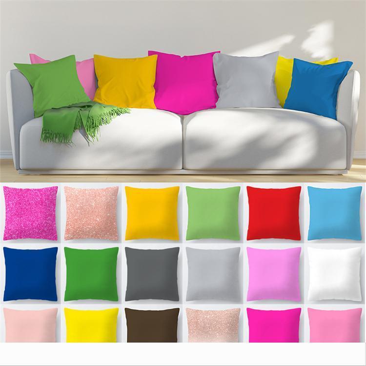 Polyester şeftali yastık kılıfı 45 * 45cm Yastık Örtüleri 5053 Koltuk Araba Ev Dekorasyonu Şeker Renk Koltuk Yastık Kılıfı ecorative