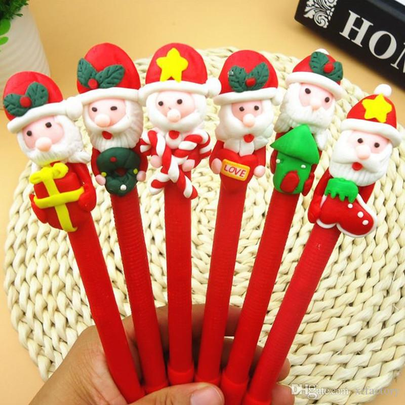 Coloffice 1PC Christmas Soft Pottery clay Ballpoint Pen Kawaii Old Man Snowman For Kids Gift Black Ink 0.5mm Pen School Office Supply