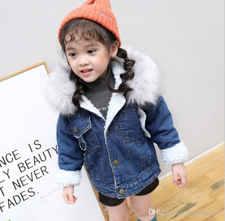 Kids Boys Girls Faux Leather Jacket Girl Fleece Warm Coat Outerwear Winter Parka